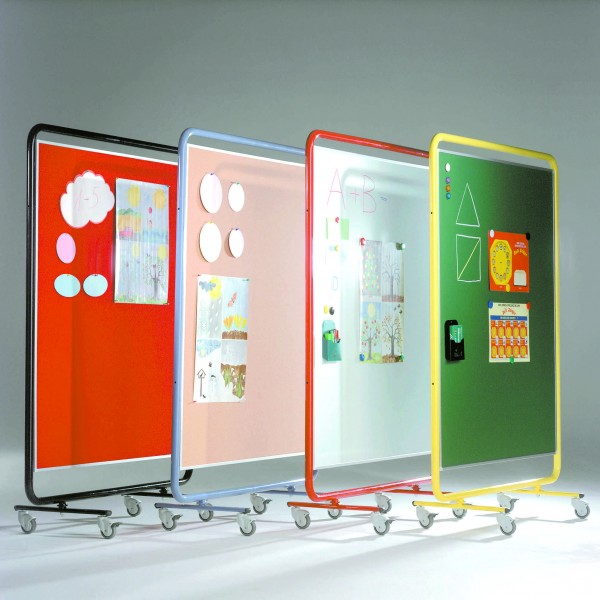 Fahrbare Raumteilertafeln mit Stahlgestell - Stoff orange